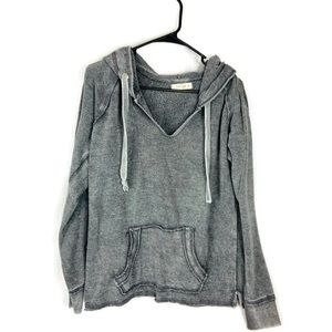 Ocean Drive Distressed Gray Comfy Hooded Sweater